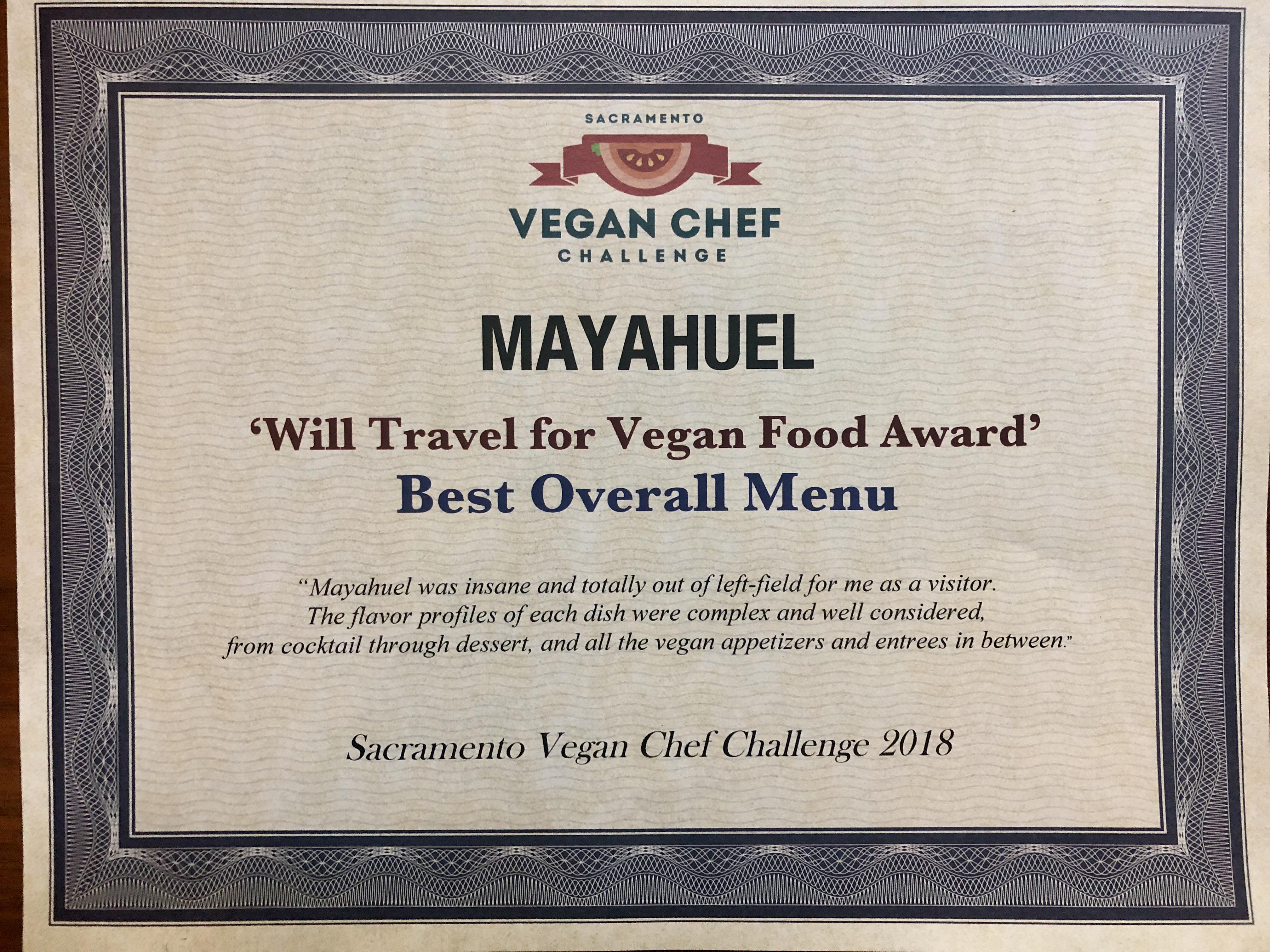 Mayahuel Vegn Menu Award